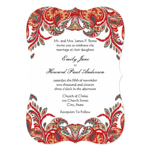 Red & Teal Vintage Paisley Peacock Damask Wedding 5x7 Paper Invitation Card