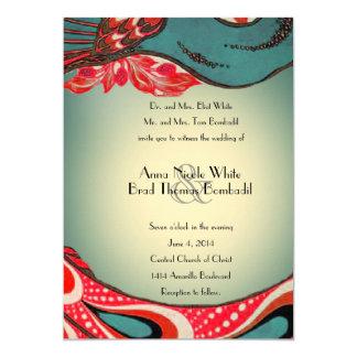Red Teal Vintage Peacock Wedding Invitation