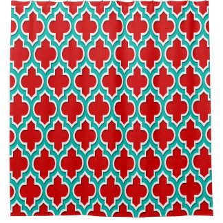 red and teal shower curtain. Red Teal White XL Moroccan  4DS Shower Curtain Curtains Zazzle