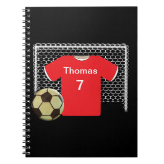 Red Team Personalized Soccer Shirt Spiral Notebook