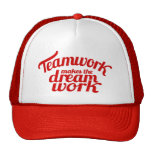 Red Teamwork Makes The Dream Work Graphic Hat at Zazzle