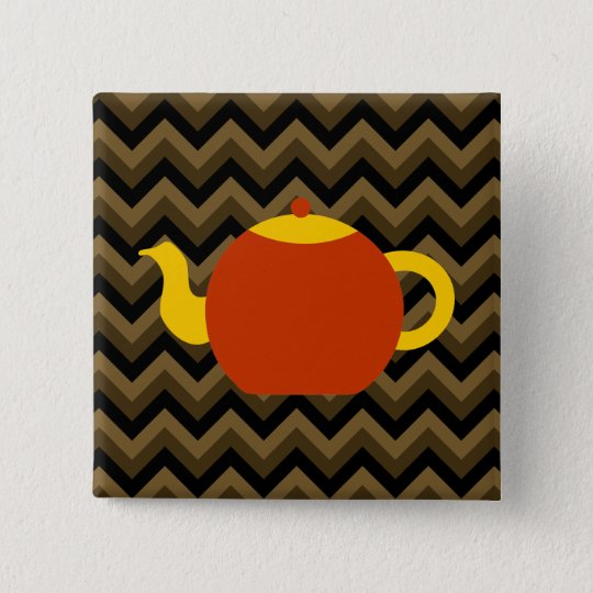 Red Teapot on Brown Zigzags. Button