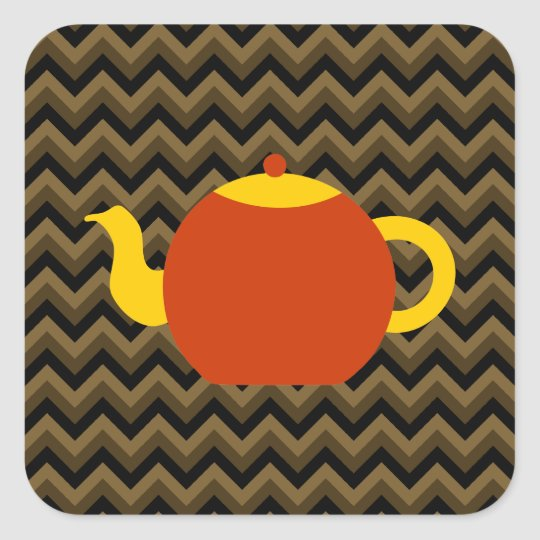 Red Teapot on Brown Zigzags. Square Sticker