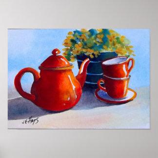 Red Teapot & Teacups Poster