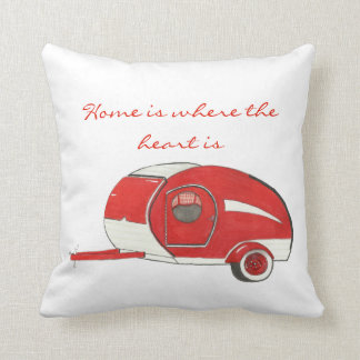 Red Teardrop Camping Poly Pillow
