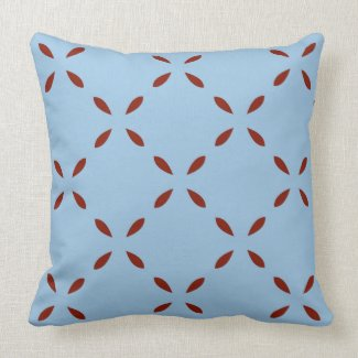 Red Teardrop Pattern on Blue Reversible Throw Pillow