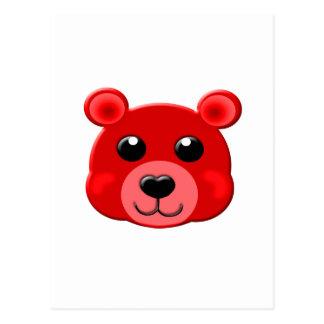 red teddy bear face postcard