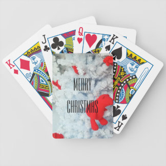 Red Teddy bear in Christmas Tree Bicycle Playing Cards