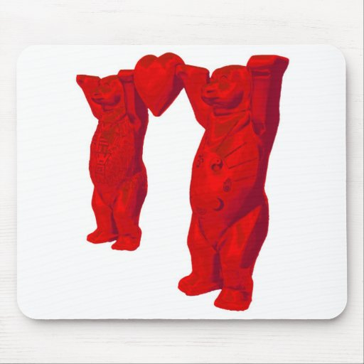 Red Teddy Bears and Red Heart Mouse Pad