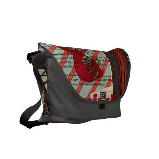 Red Telephone Band Rock n Roll Electric Guitar Courier Bag
