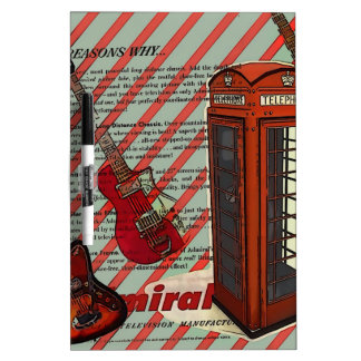 Red Telephone Band Rock n Roll Electric Guitar Dry Erase Board