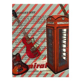 Red Telephone Band Rock n Roll Electric Guitar Letterhead