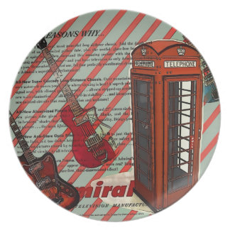 Red Telephone Band Rock n Roll Electric Guitar Plate