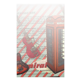 Red Telephone Band Rock n Roll Electric Guitar Stationery