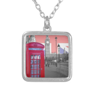 Red Telephone Big Ben Personalised Necklace