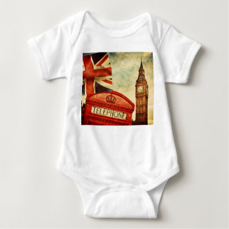 Red telephone booth and Big Ben in London, England Baby Bodysuit