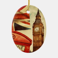Red Telephone Booth And Big Ben In London, England Ceramic Ornament at Zazzle