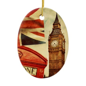 jurassic_world Red telephone booth and Big Ben in London, England Ceramic Ornament