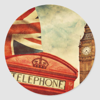 Red telephone booth and Big Ben in London, England Classic Round Sticker
