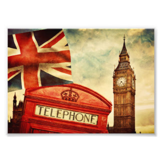 Red telephone booth and Big Ben in London, England Photo Print