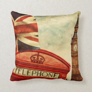 Red telephone booth and Big Ben in London, England Throw Pillow