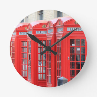 Red Telephone Booths of London Round Clock