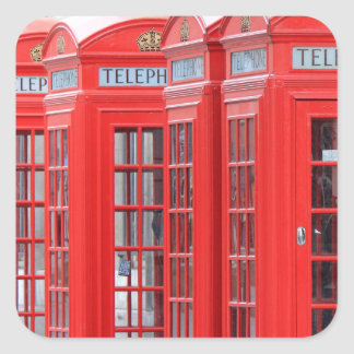 Red Telephone Booths of London Square Sticker