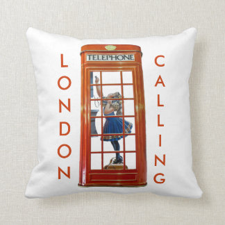 Red Telephone Box for Polyester Throw Cushion Throw Pillow