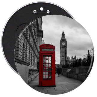 Red telephone box in London button