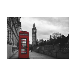 Red telephone box in London canvas