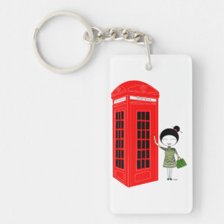 Red Telephone box in London Single-Sided Rectangular Acrylic Keychain
