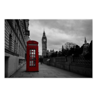 Red telephone box in London poster print