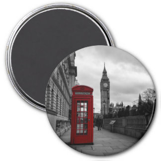 Red telephone box in London round magnet