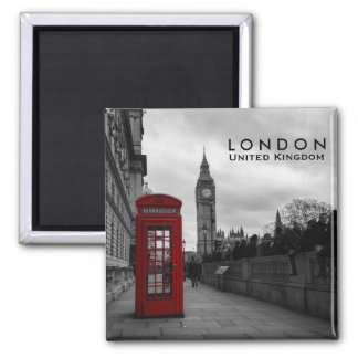Red telephone box in London text magnet