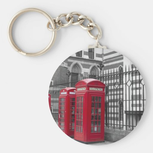 Red Telephone boxes Basic Round Button Keychain