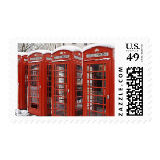 Red telephones near Big Ben Stamp