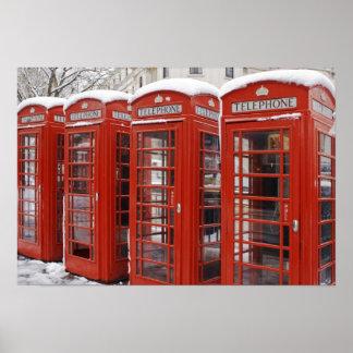 Red telephones near Big Ben Poster