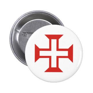 Red Templar Cross Button