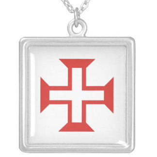 Red Templar Cross Square Pendant Necklace