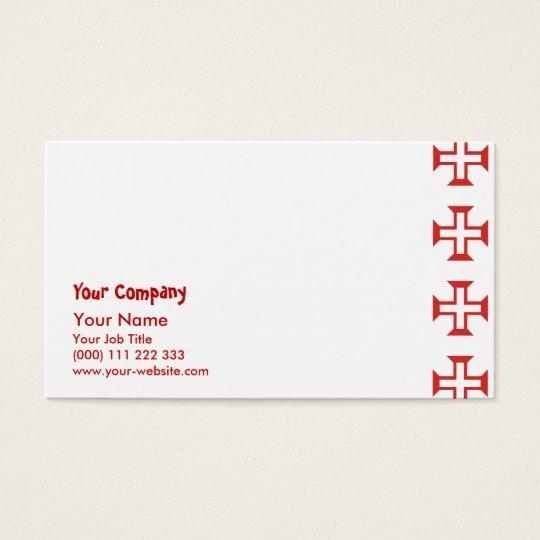 Red Templar Cross pattern Business Card