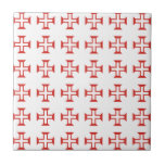 Red Templar Cross pattern Ceramic Tile