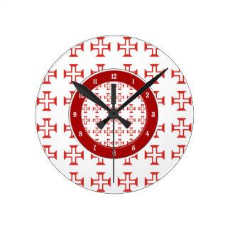 Red Templar Cross pattern Wallclock
