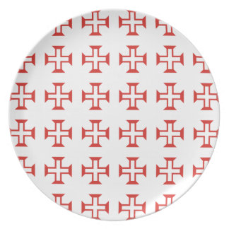 Red Templar Cross pattern Plate