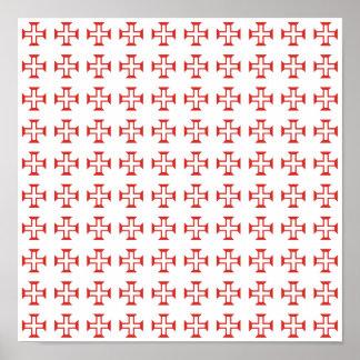 Red Templar Cross pattern Poster
