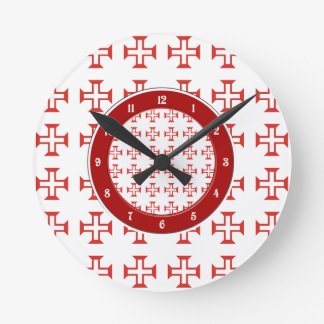 Red Templar Cross pattern Round Clock
