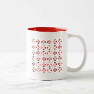 Red Templar Cross pattern Two-Tone Coffee Mug