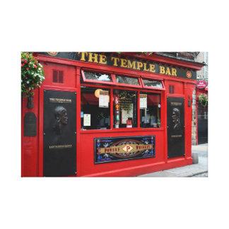 Red Temple Bar pub in Dublin canvas
