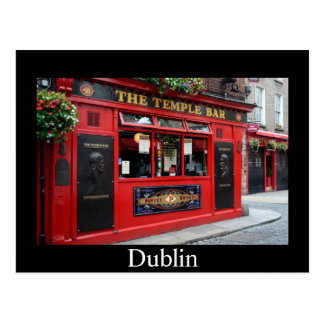 Red Temple Bar pub in Dublin card with text Postcard