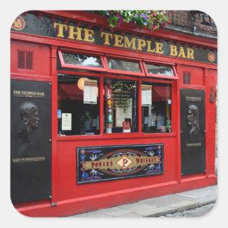 Red Temple Bar pub in Dublin Square Sticker