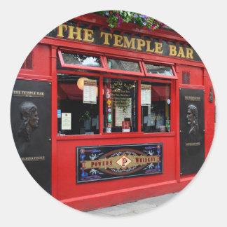 Red Temple Bar pub in Dublin Classic Round Sticker